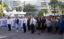 """ผู้บริหารโรงพยาบาลสวรรค์ประชารักษ์พร้อมเจ้าหน้าที่ผู้รับบริการร่วมกิจกรรม """" ร้องเพลงชาติ """" ในโอกาสครบ 100 ปี ธงชาติไทย"""