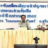 ผู้ว่าราชการจังหวัดสุรินทร์ ประชุมชี้แจงแนวทางการขับเคลื่อนนโยบายสำคัญของรัฐบาล ต่อองค์กรปกครองส่วนท้องถิ่น