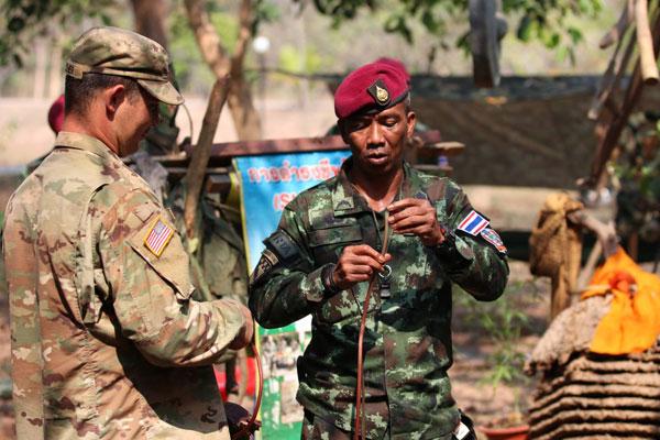กองทัพไทยและกองทัพสหรัฐอเมริกาเข้าร่วมฝึกการดำรงชีพในป่า