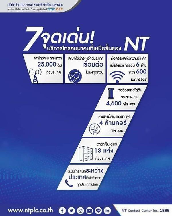 NT เราพร้อมที่จะยกระดับการให้บริการด้วย 7 จุดเด่นด้าน