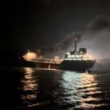 เรือสนับสนุนปฏิบัติงานนอกชายฝั่งของเชฟรอนช่วยดับเพลิงบนเรือน้ำมัน จ.สงขลา