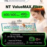 เน็ตบ้าน NT แพ็คเก็จสุดคุ้ม กับโปร NT ValueMax Fiber ความเร็ว 600/600 Mbps.เพียง 490 บาท